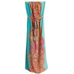 Lilly Pulitzer Strapless Maxi Paisley Floral Dress